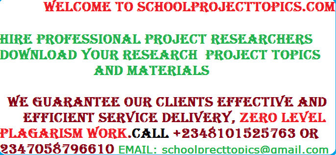 AGRICULTURAL SCIENCE PROJECT TOPICS AND MATERIALS