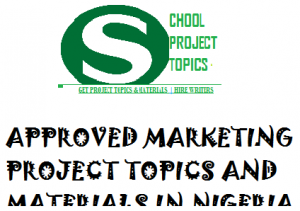 MARKETING PROJECT TOPICS AND MATERIALS IN NIGERIA